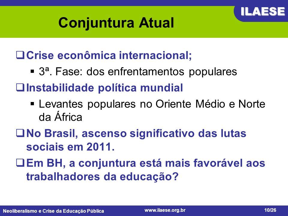 Conjuntura Atual Crise econômica internacional;