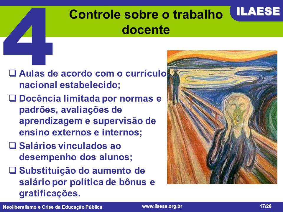 Controle sobre o trabalho docente