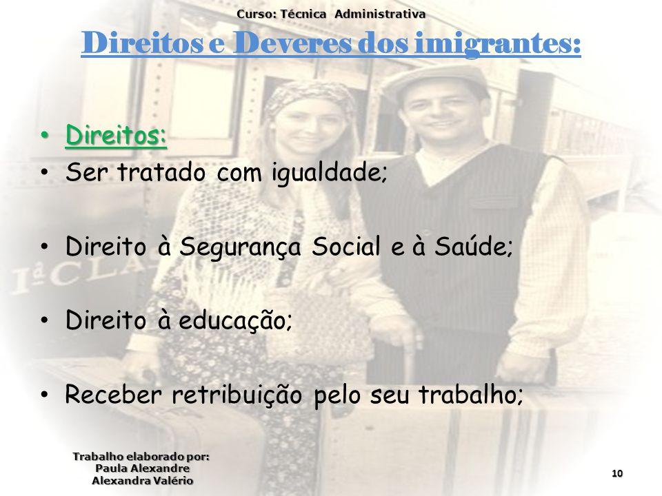 Direitos e Deveres dos imigrantes: