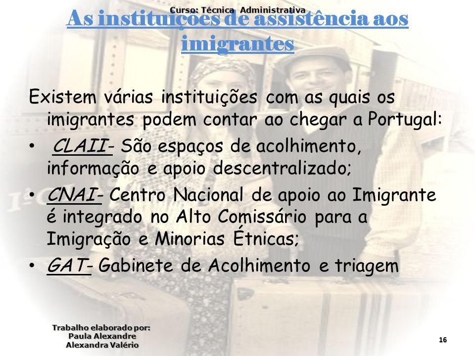 As instituições de assistência aos imigrantes