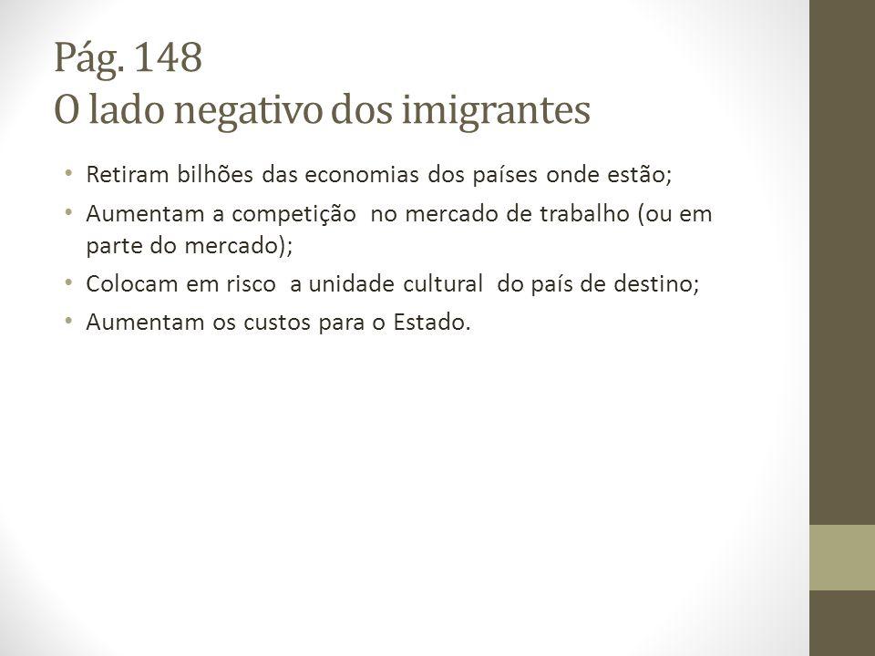 Pág. 148 O lado negativo dos imigrantes