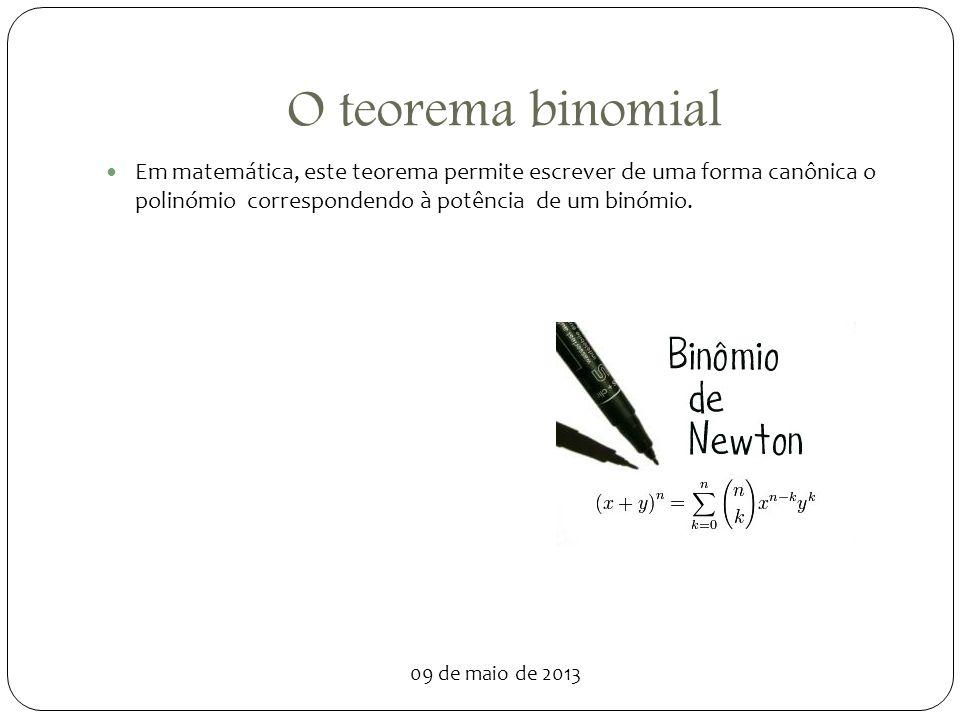 O teorema binomial Em matemática, este teorema permite escrever de uma forma canônica o polinómio correspondendo à potência de um binómio.