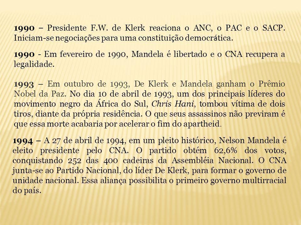 1990 – Presidente F. W. de Klerk reaciona o ANC, o PAC e o SACP
