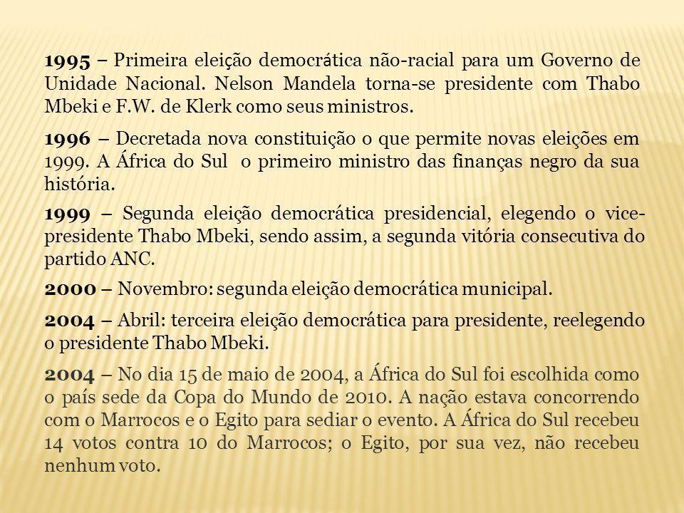 1995 – Primeira eleição democrática não-racial para um Governo de Unidade Nacional. Nelson Mandela torna-se presidente com Thabo Mbeki e F.W. de Klerk como seus ministros.