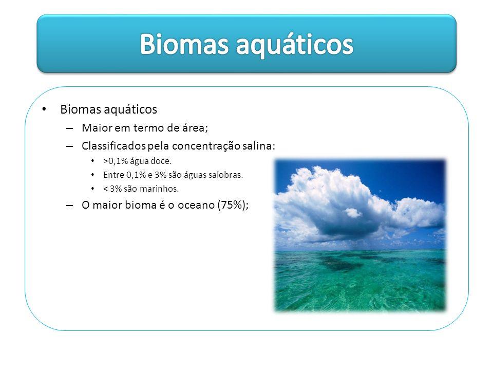 Biomas aquáticos Biomas aquáticos Maior em termo de área;