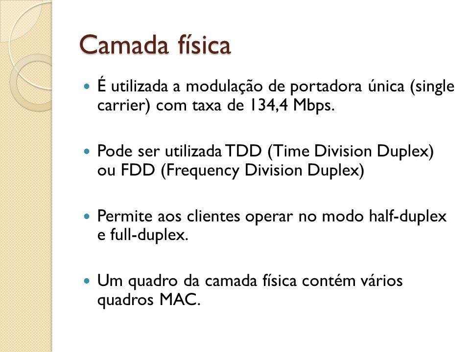 Camada física É utilizada a modulação de portadora única (single carrier) com taxa de 134,4 Mbps.