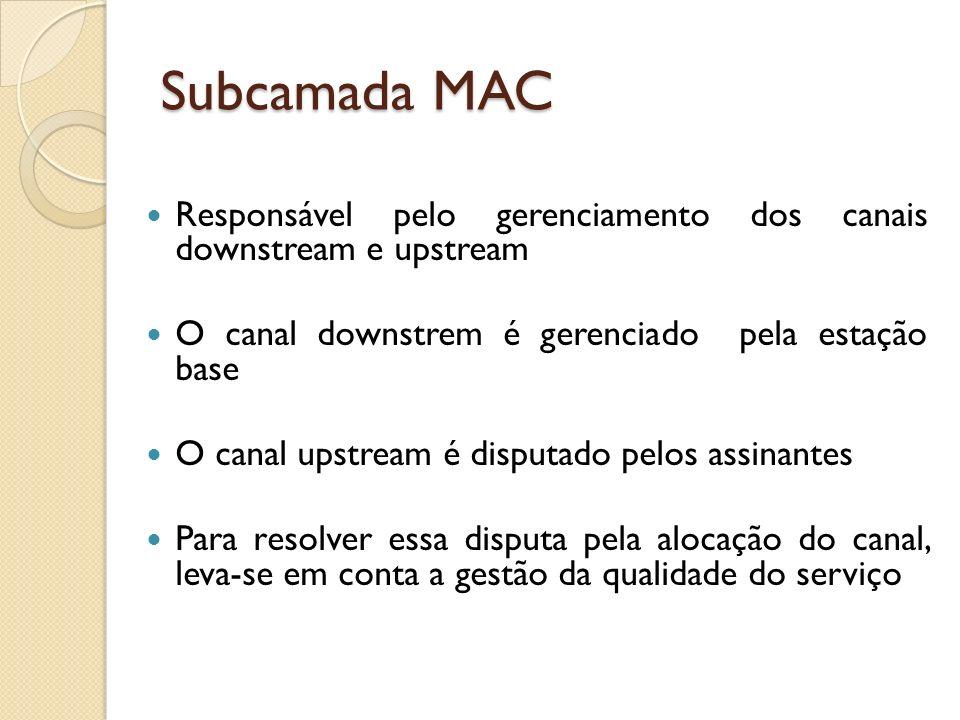 Subcamada MAC Responsável pelo gerenciamento dos canais downstream e upstream. O canal downstrem é gerenciado pela estação base.