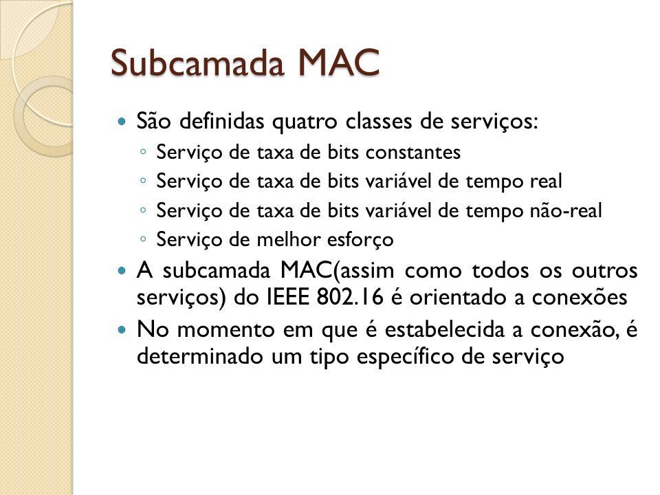 Subcamada MAC São definidas quatro classes de serviços: