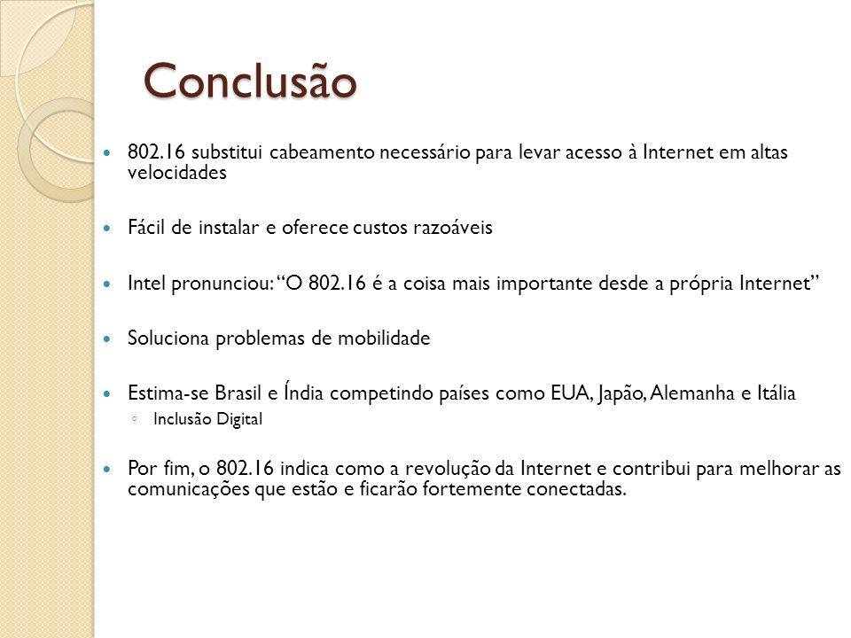Conclusão 802.16 substitui cabeamento necessário para levar acesso à Internet em altas velocidades.