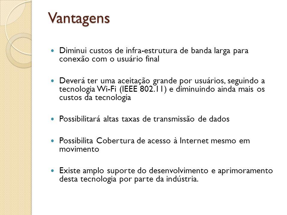 Vantagens Diminui custos de infra-estrutura de banda larga para conexão com o usuário final.