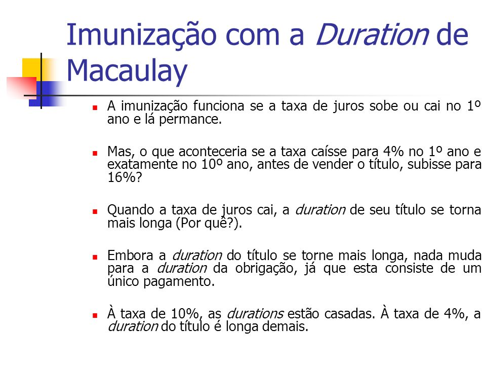Imunização com a Duration de Macaulay