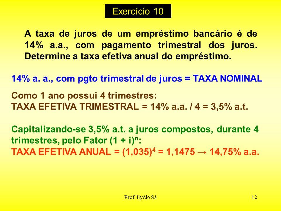 14% a. a., com pgto trimestral de juros = TAXA NOMINAL