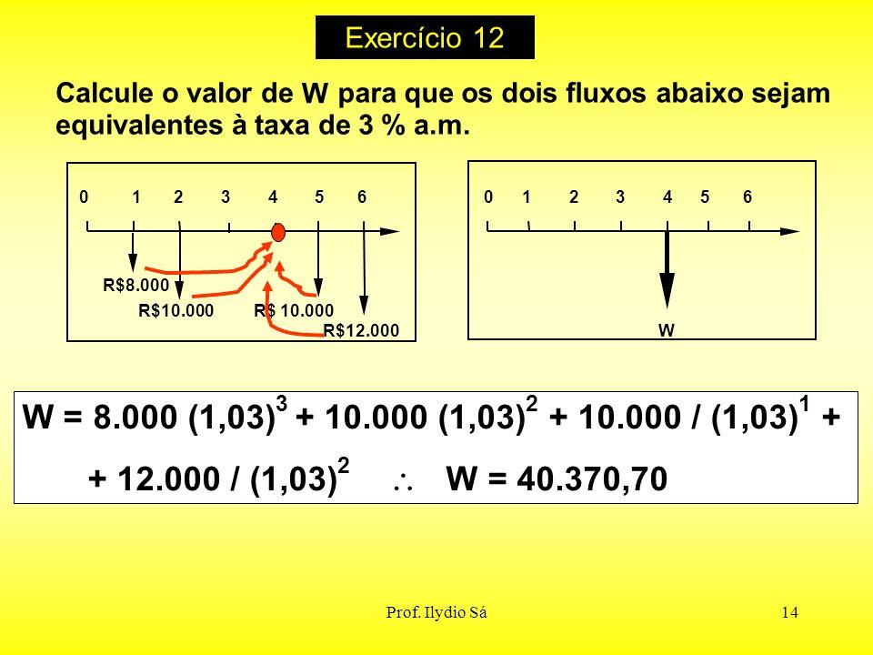 Exercício 12 Calcule o valor de. W. para que os dois fluxos abaixo sejam. equivalentes à taxa de 3 % a.m.