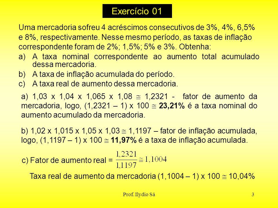 Taxa real de aumento da mercadoria (1,1004 – 1) x 100  10,04%