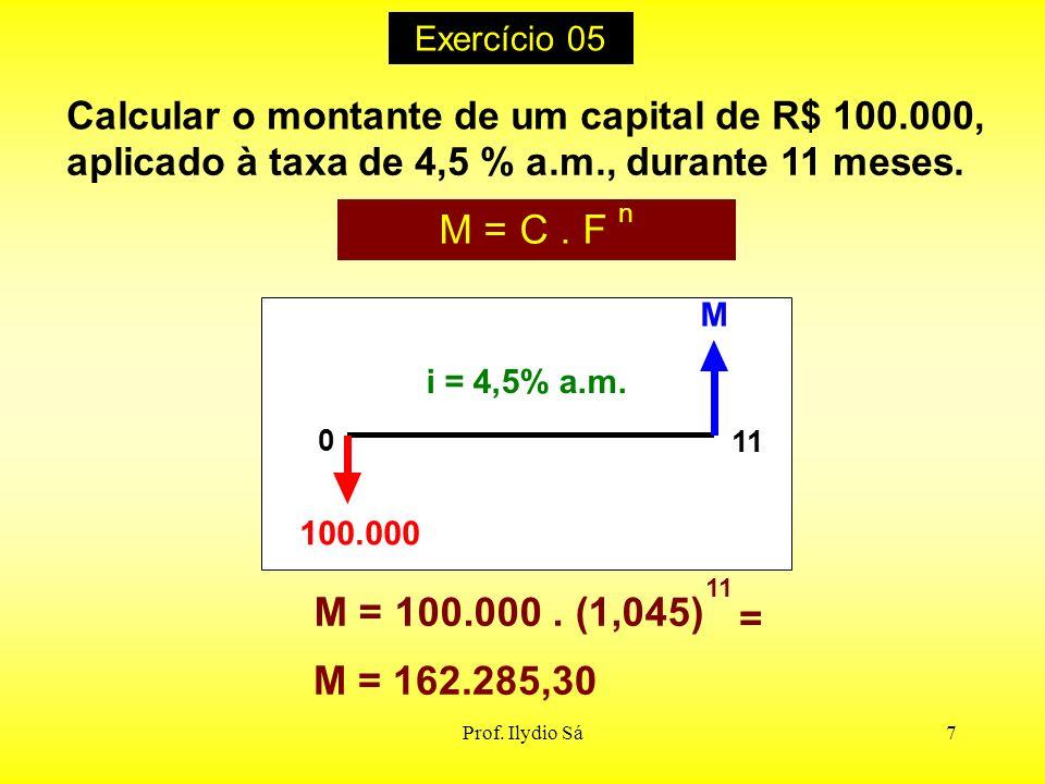 Exercício 05 Calcular o montante de um capital de R$ 100.000, aplicado à taxa de 4,5 % a.m., durante 11 meses.