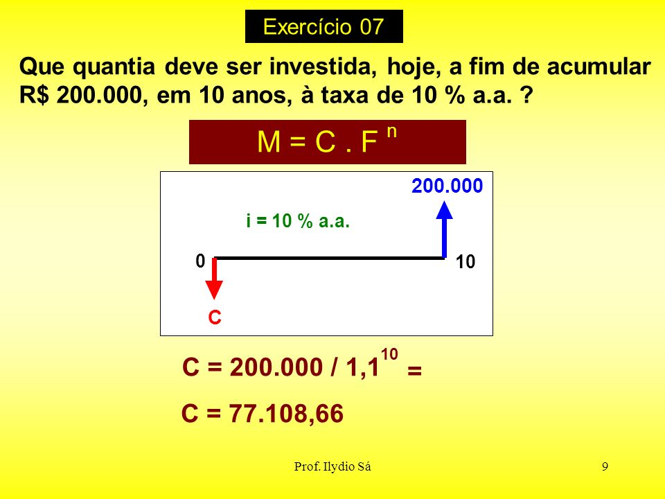 Exercício 07 Que quantia deve ser investida, hoje, a fim de acumular. R$ 200.000, em 10 anos, à taxa de 10 % a.a.