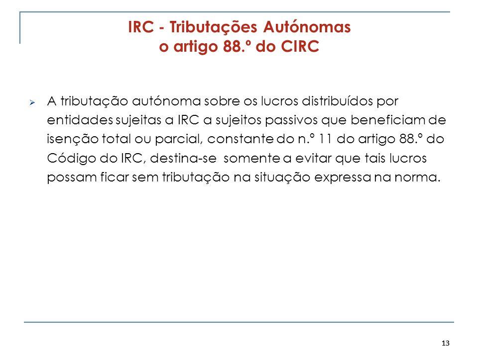 IRC - Tributações Autónomas o artigo 88.º do CIRC