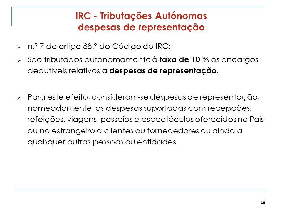 IRC - Tributações Autónomas despesas de representação