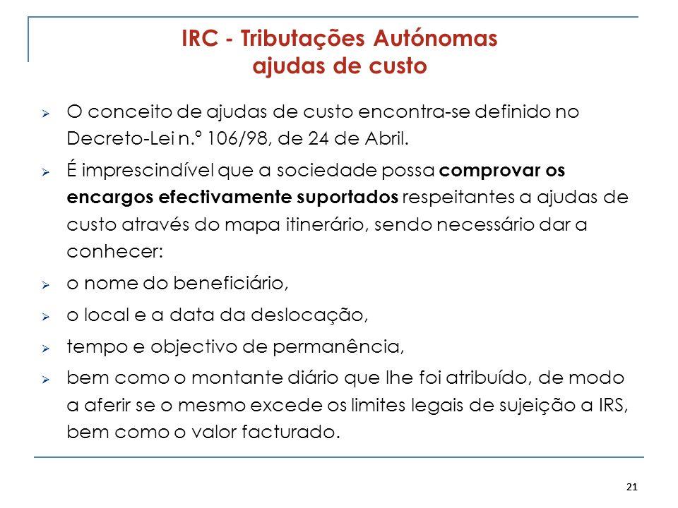 IRC - Tributações Autónomas ajudas de custo