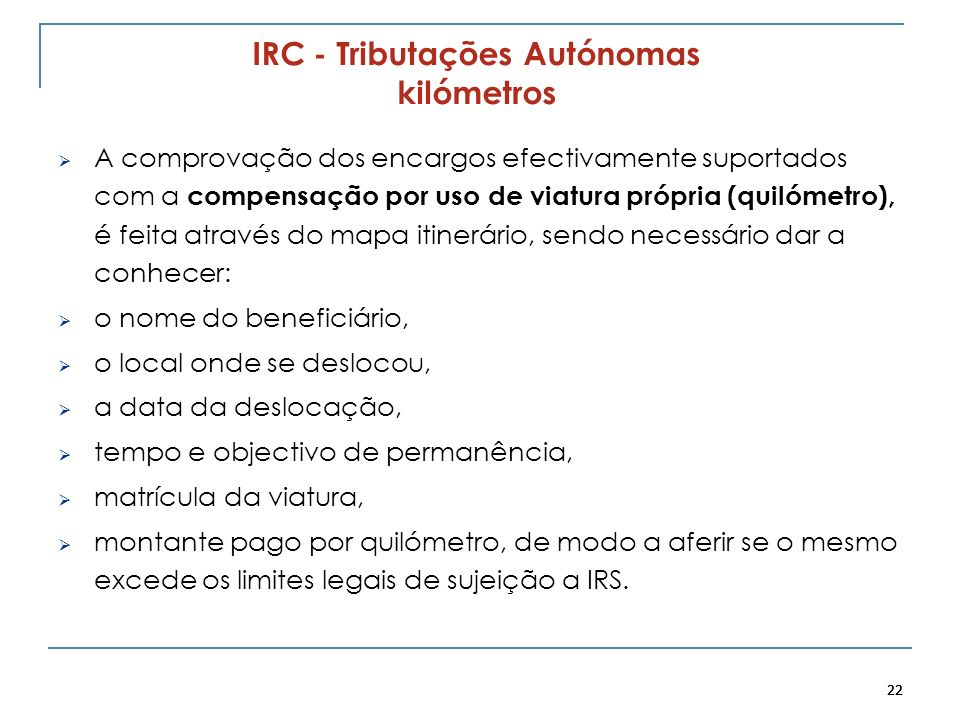 IRC - Tributações Autónomas kilómetros