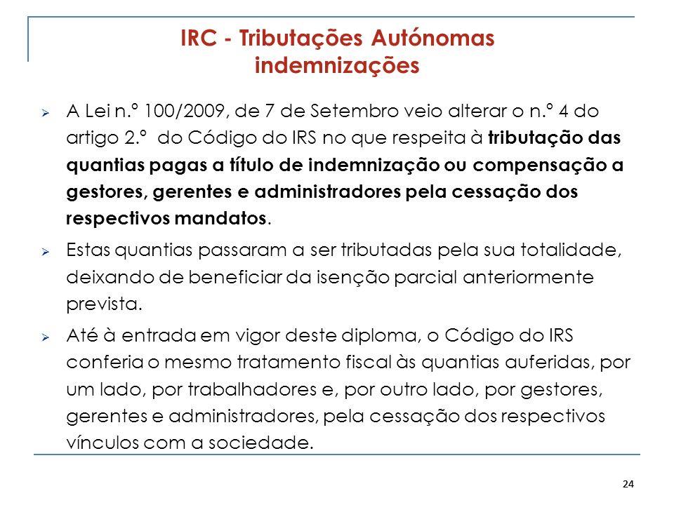 IRC - Tributações Autónomas indemnizações