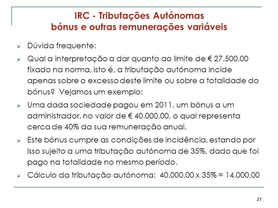 IRC - Tributações Autónomas bónus e outras remunerações variáveis
