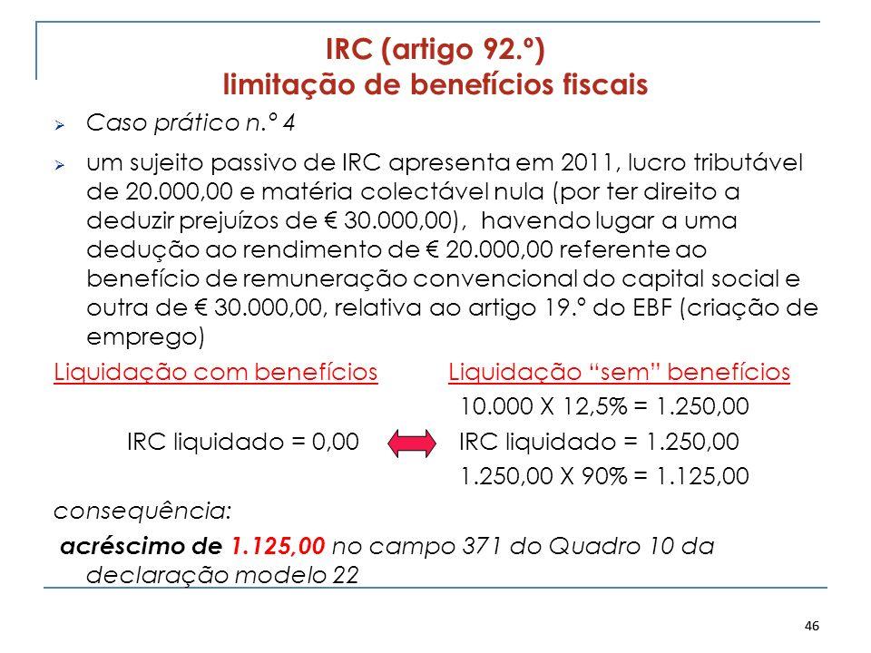 IRC (artigo 92.º) limitação de benefícios fiscais