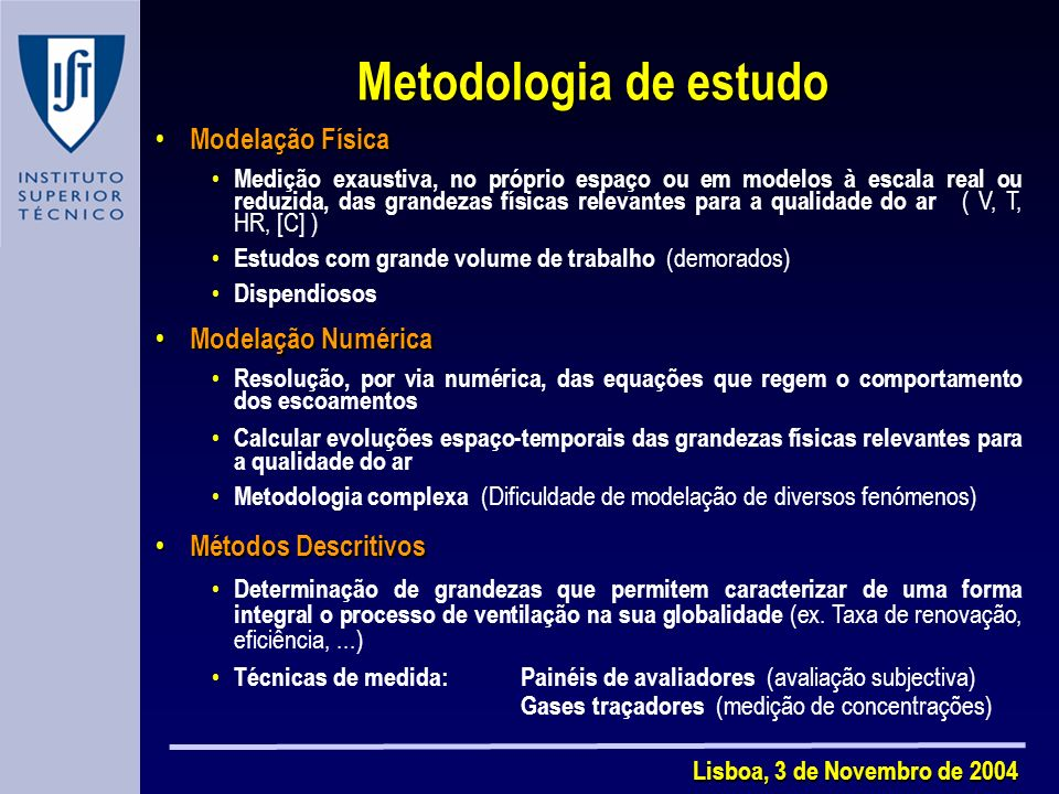 Metodologia de estudo Modelação Física Modelação Numérica