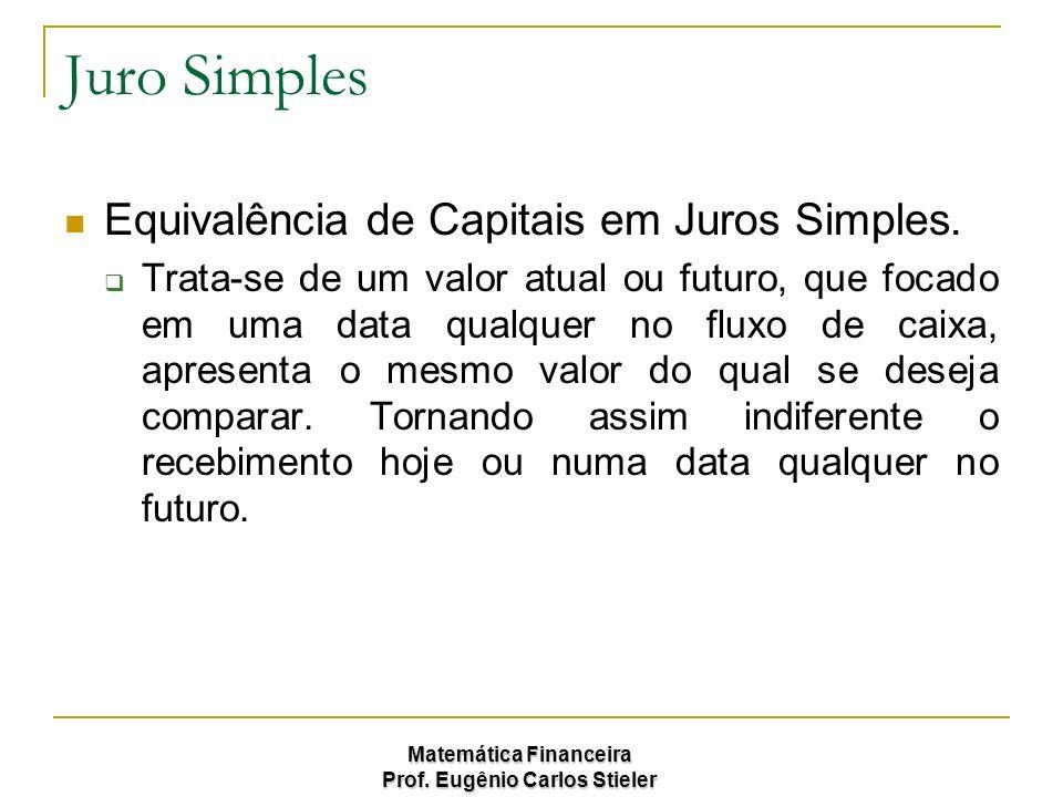 Juro Simples Equivalência de Capitais em Juros Simples.