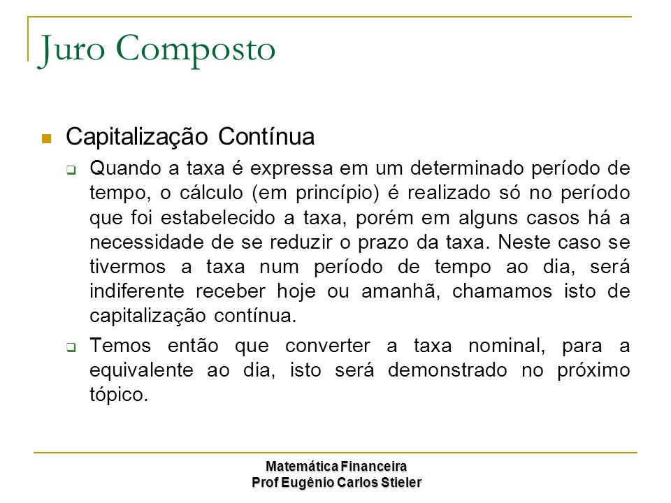 Juro Composto Capitalização Contínua