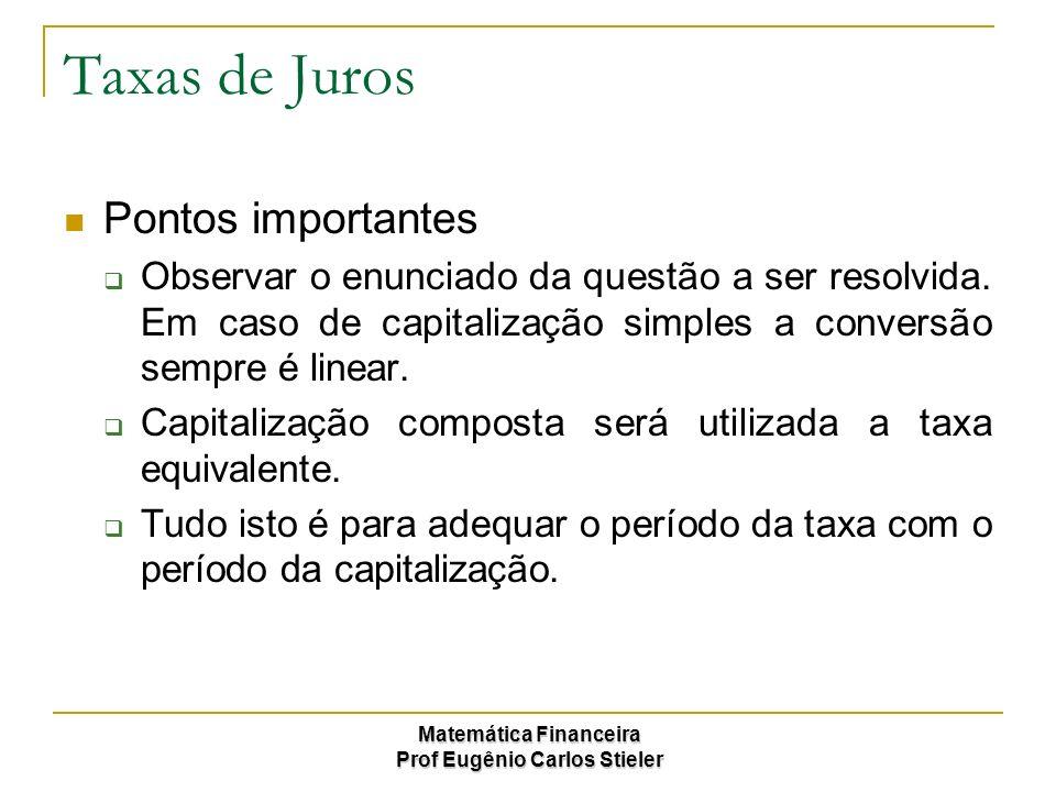 Taxas de Juros Pontos importantes