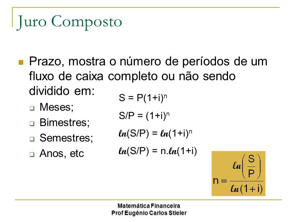 Juro Composto Prazo, mostra o número de períodos de um fluxo de caixa completo ou não sendo dividido em: