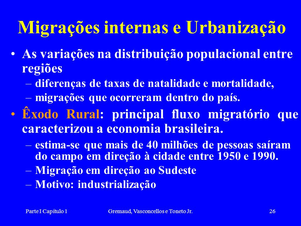 Migrações internas e Urbanização