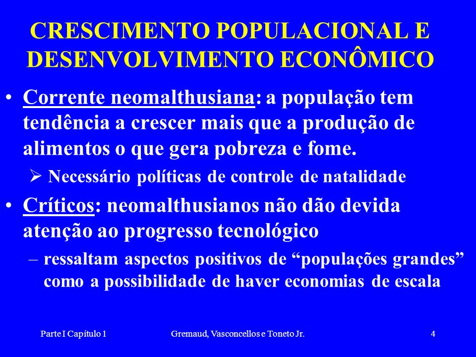 CRESCIMENTO POPULACIONAL E DESENVOLVIMENTO ECONÔMICO