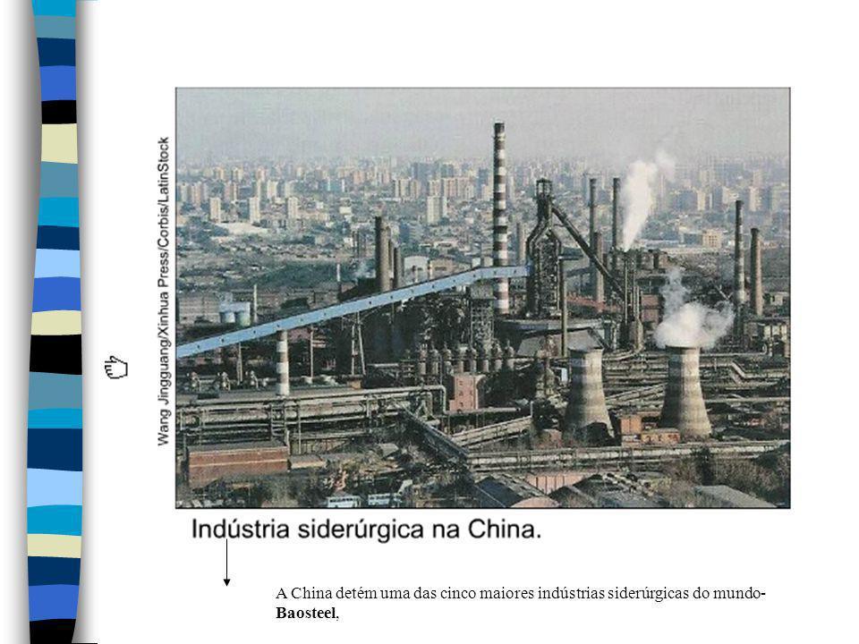 A China detém uma das cinco maiores indústrias siderúrgicas do mundo-Baosteel,