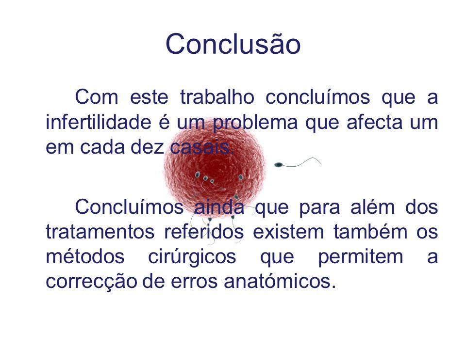 Conclusão Com este trabalho concluímos que a infertilidade é um problema que afecta um em cada dez casais.