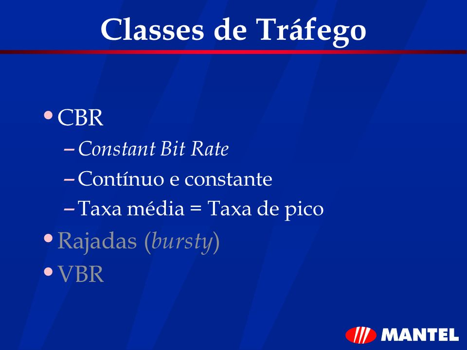 Classes de Tráfego CBR Rajadas (bursty) VBR Constant Bit Rate