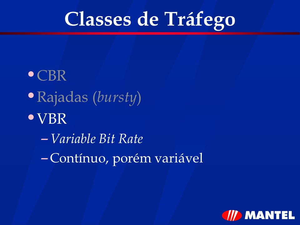 Classes de Tráfego CBR Rajadas (bursty) VBR Variable Bit Rate