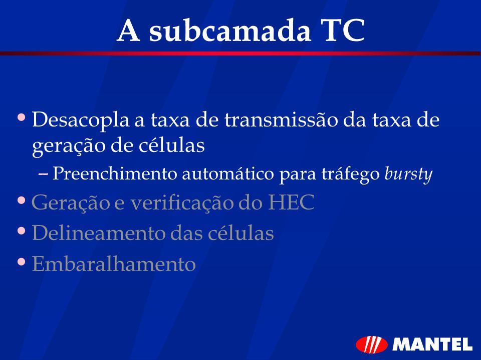 A subcamada TC Desacopla a taxa de transmissão da taxa de geração de células. Preenchimento automático para tráfego bursty.