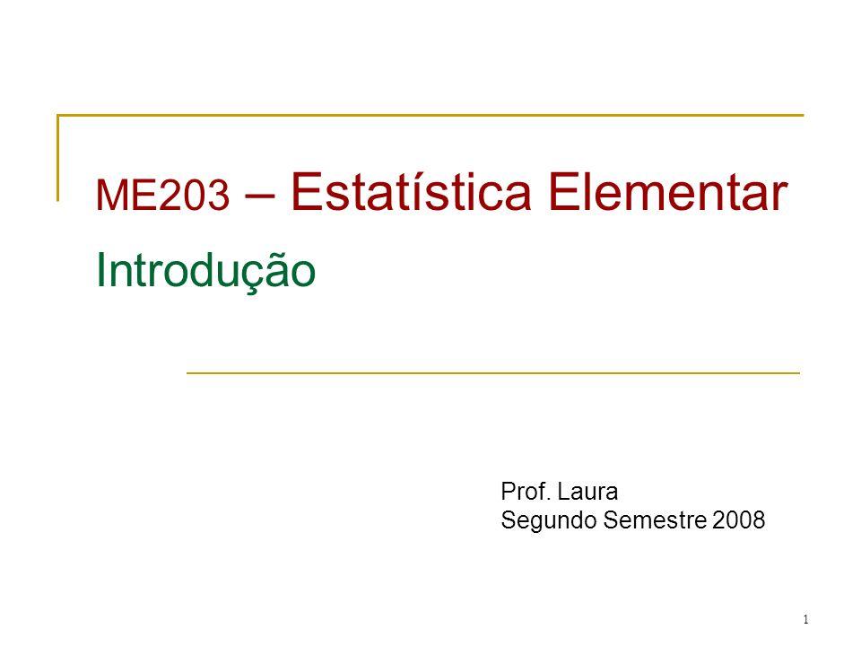 ME203 – Estatística Elementar Introdução