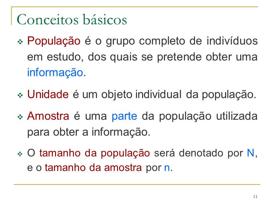 Conceitos básicos População é o grupo completo de indivíduos em estudo, dos quais se pretende obter uma informação.