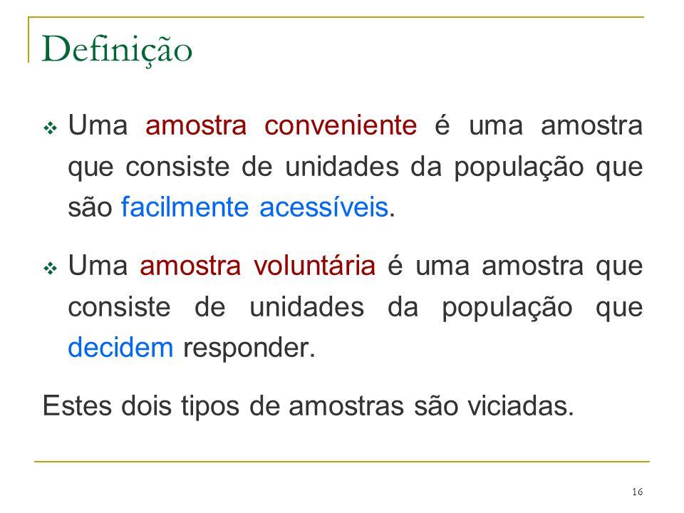 Definição Uma amostra conveniente é uma amostra que consiste de unidades da população que são facilmente acessíveis.