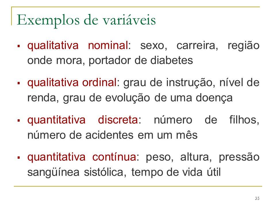 Exemplos de variáveis qualitativa nominal: sexo, carreira, região onde mora, portador de diabetes.