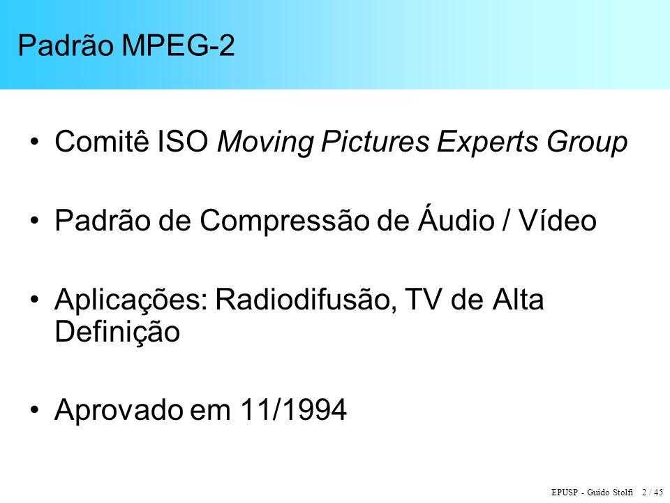 Padrão MPEG-2 Comitê ISO Moving Pictures Experts Group. Padrão de Compressão de Áudio / Vídeo. Aplicações: Radiodifusão, TV de Alta Definição.