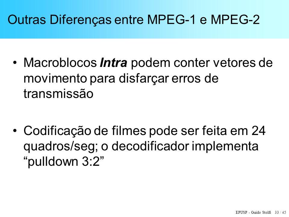 Outras Diferenças entre MPEG-1 e MPEG-2