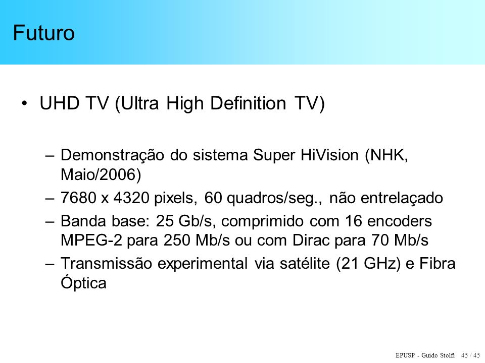Futuro UHD TV (Ultra High Definition TV)