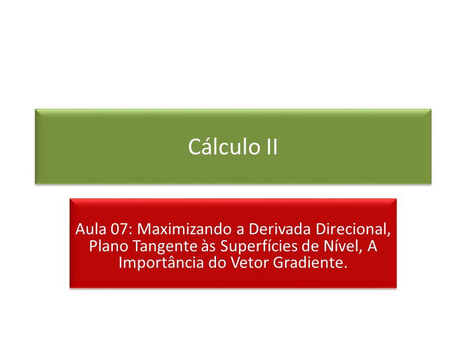 Cálculo IIAula 07: Maximizando a Derivada Direcional, Plano Tangente às Superfícies de Nível, A Importância do Vetor Gradiente.