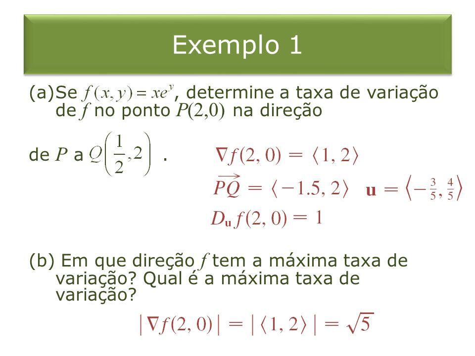 Exemplo 1 Se , determine a taxa de variação de f no ponto P(2,0) na direção. de P a .