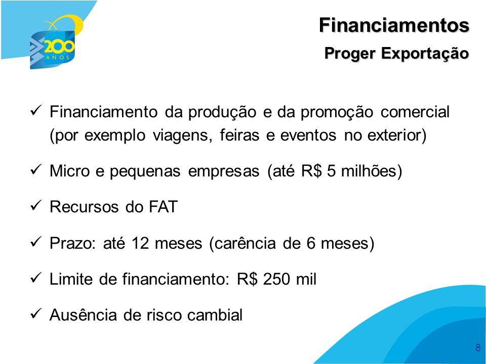 Financiamentos Proger Exportação. Financiamento da produção e da promoção comercial (por exemplo viagens, feiras e eventos no exterior)