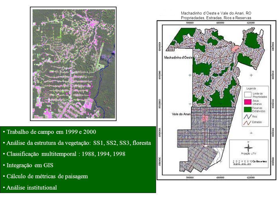 Análise da estrutura da vegetação: SS1, SS2, SS3, floresta
